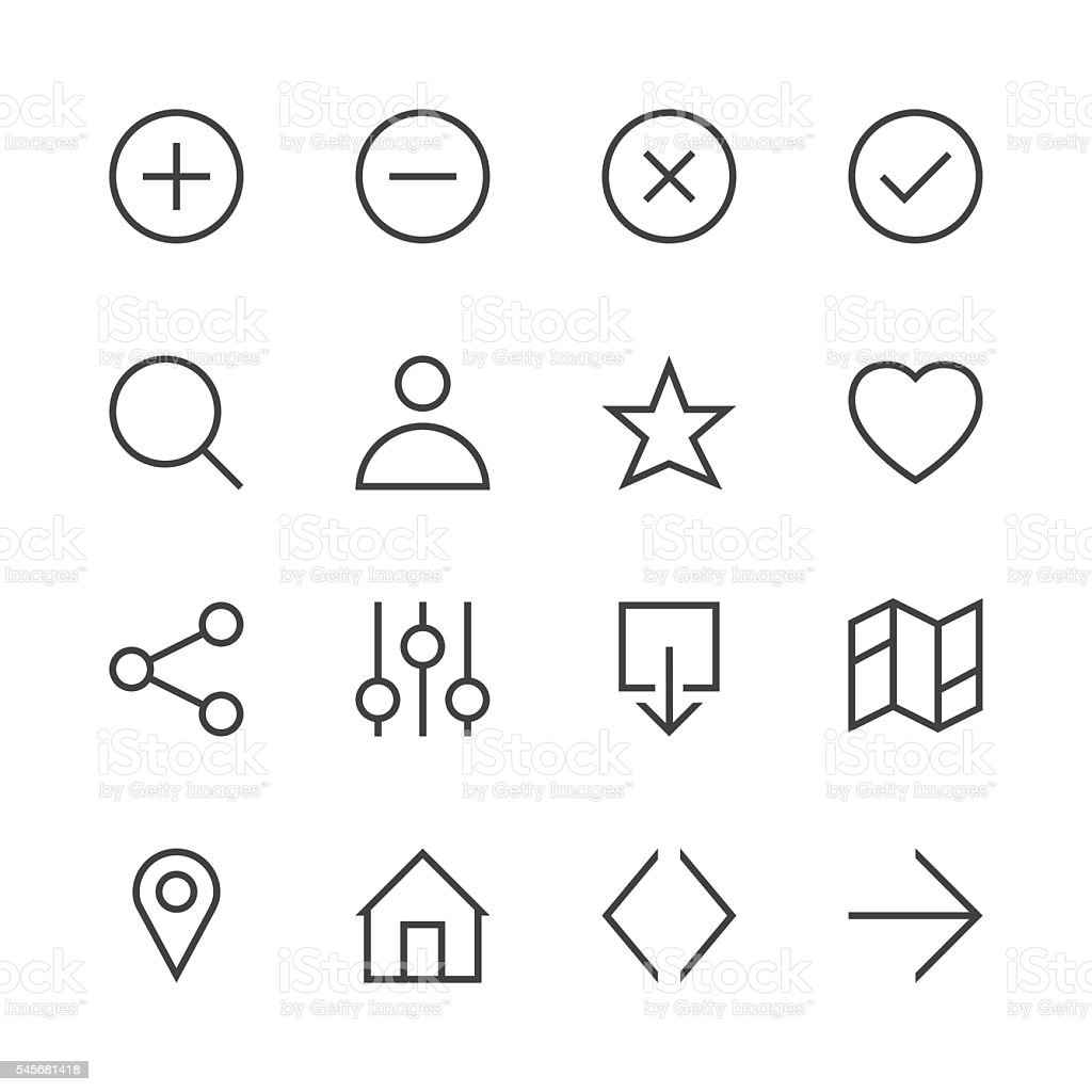 Basic Icon Set 1 - Line Series vector art illustration