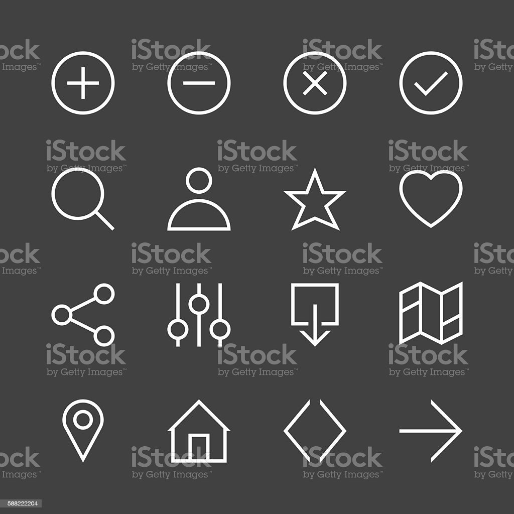 Basic Icon Set 1 - White Line Series vector art illustration