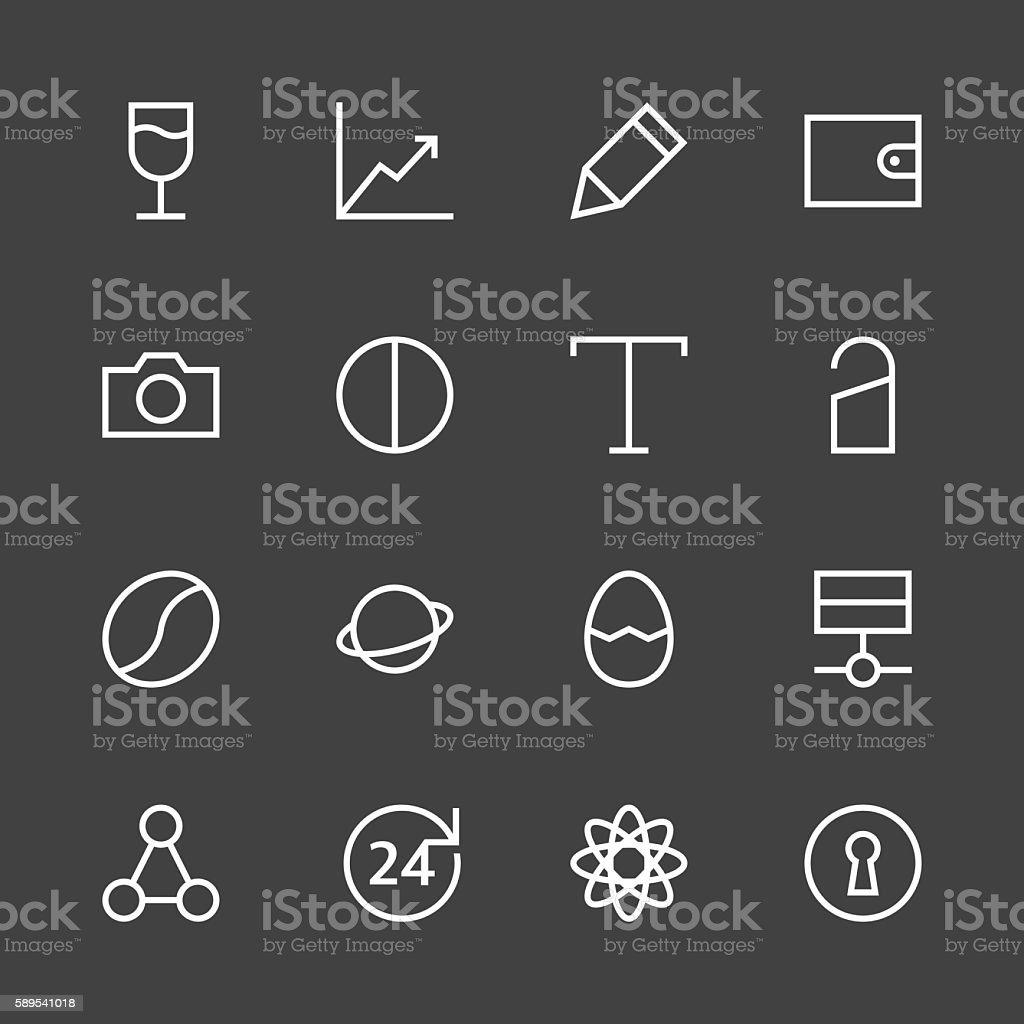 Basic Icon Set 10 - White Line Series vector art illustration