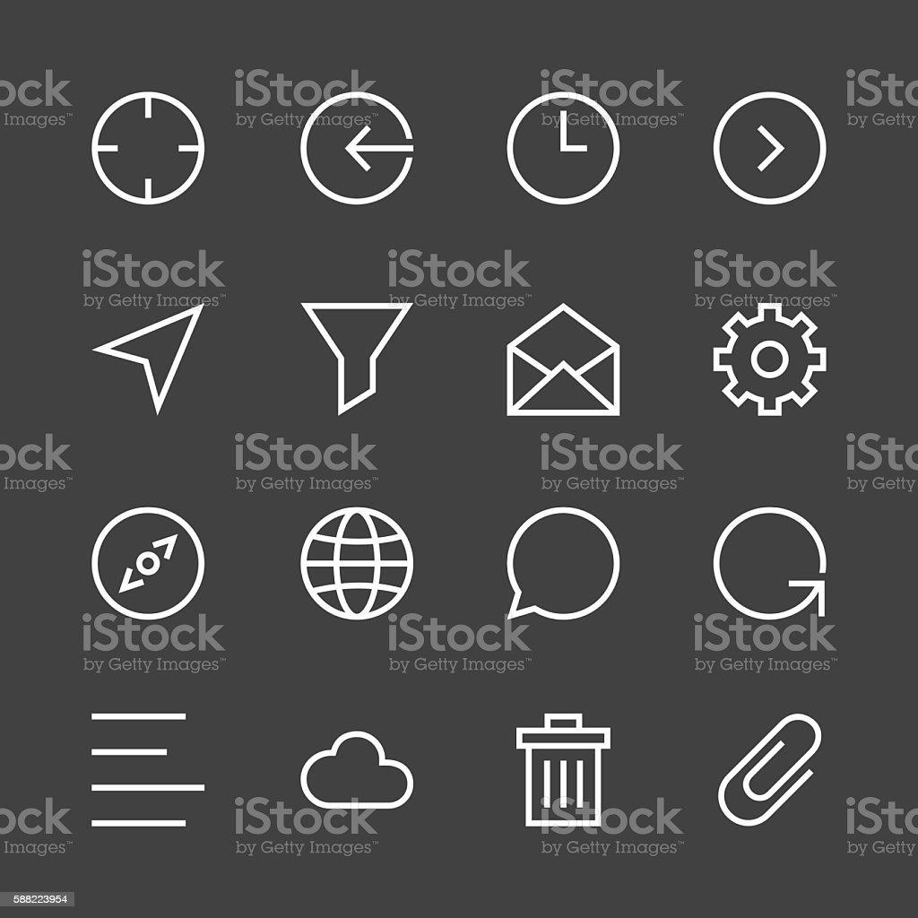 Basic Icon Set 2 - White Line Series vector art illustration