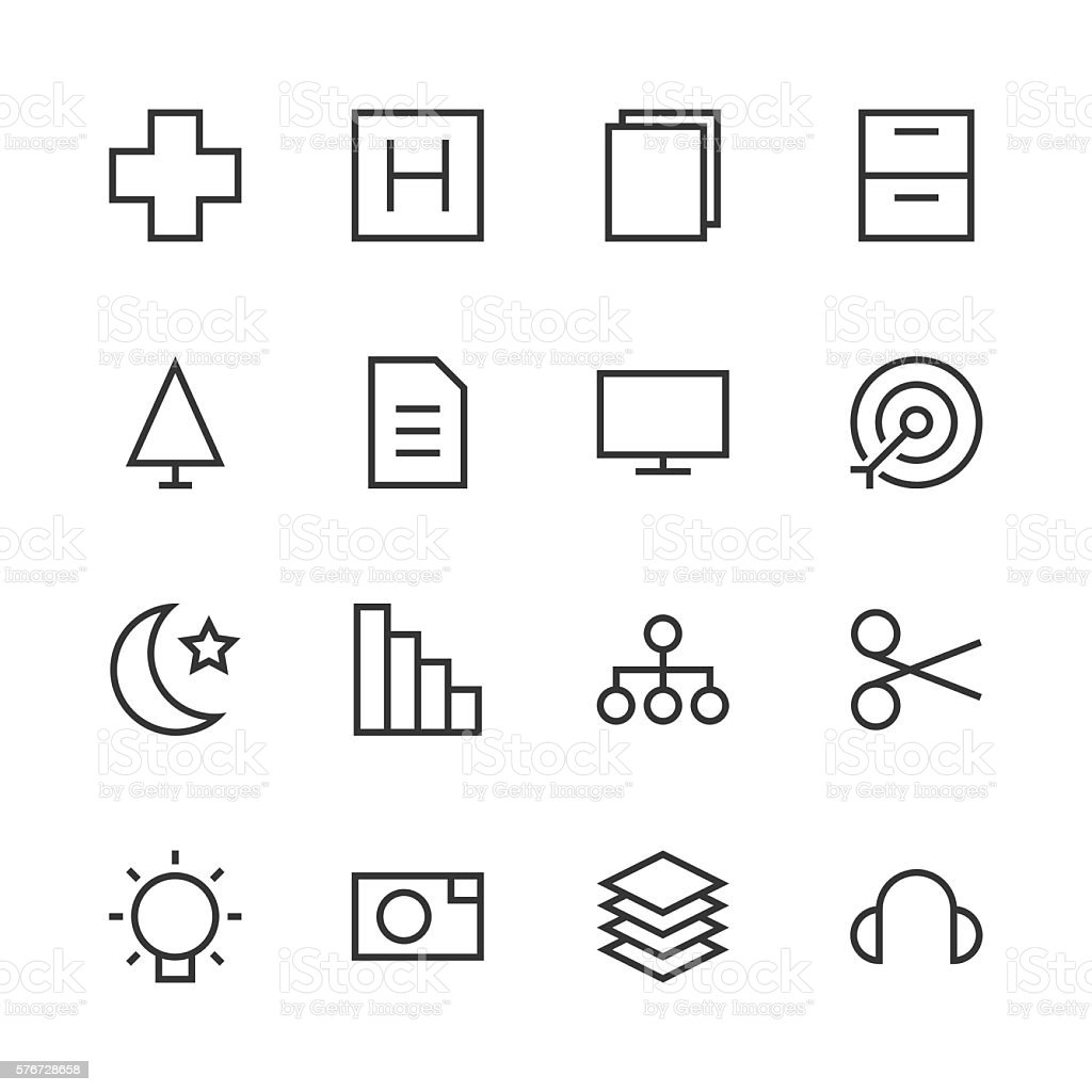 Basic Icon Set 4 - Line Series vector art illustration