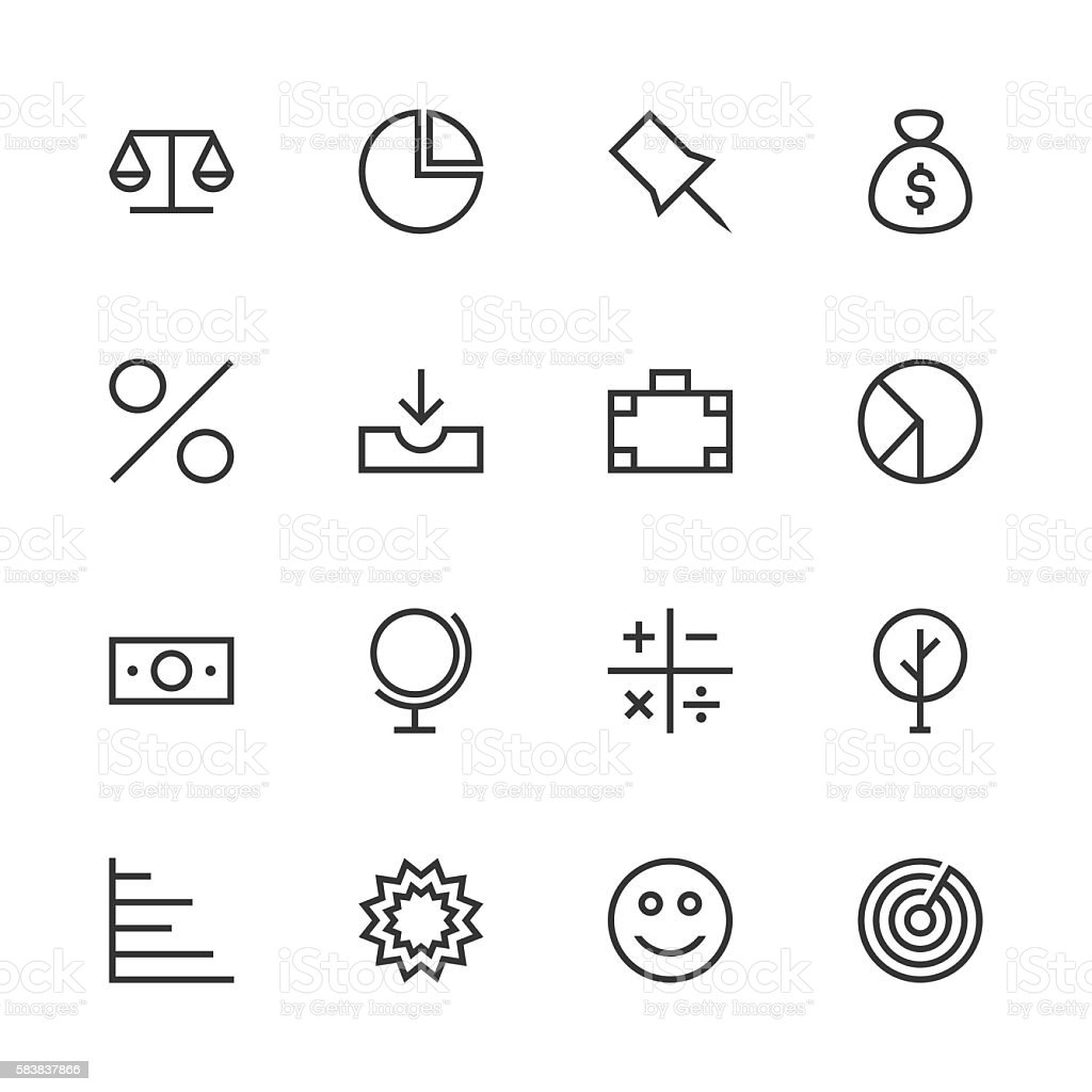 Basic Icon Set 6 - Line Series vector art illustration