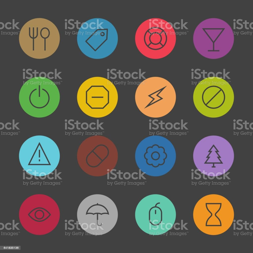 Basic Icon Set 7 - Color Circle Series vector art illustration