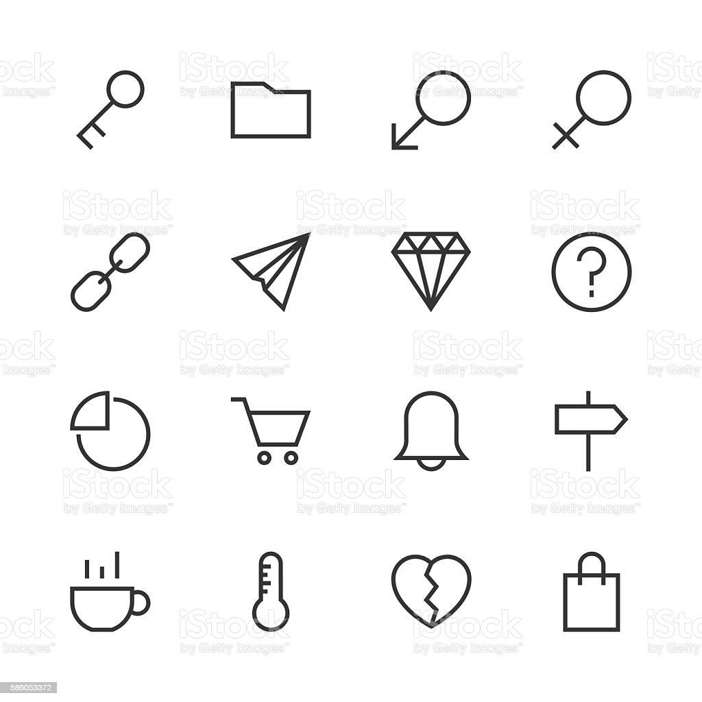 Basic Icon Set 8 - Line Series vector art illustration