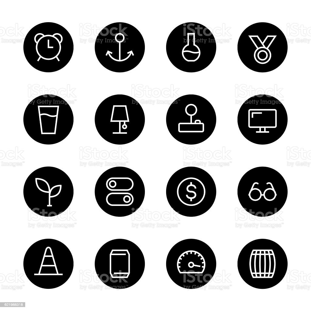Basic Icon Set 9 - Black Circle Series vector art illustration