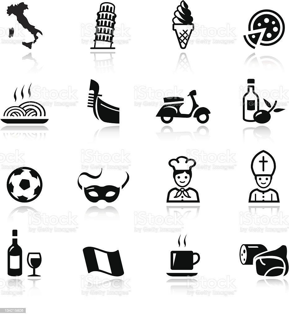 Basic - italian icons vector art illustration