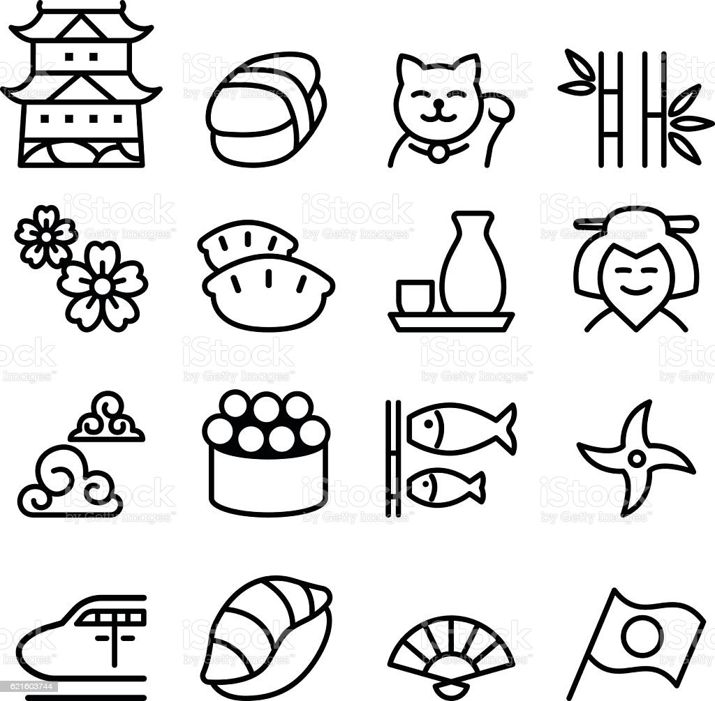 Basic japan icon set in thin line style vector art illustration