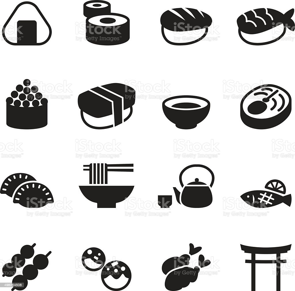 Basic Japanese food icons set vector art illustration
