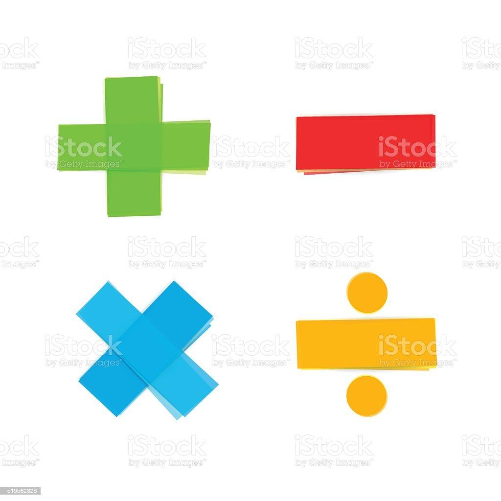 basic mathematical symbols plus minus multiply divide vector art illustration
