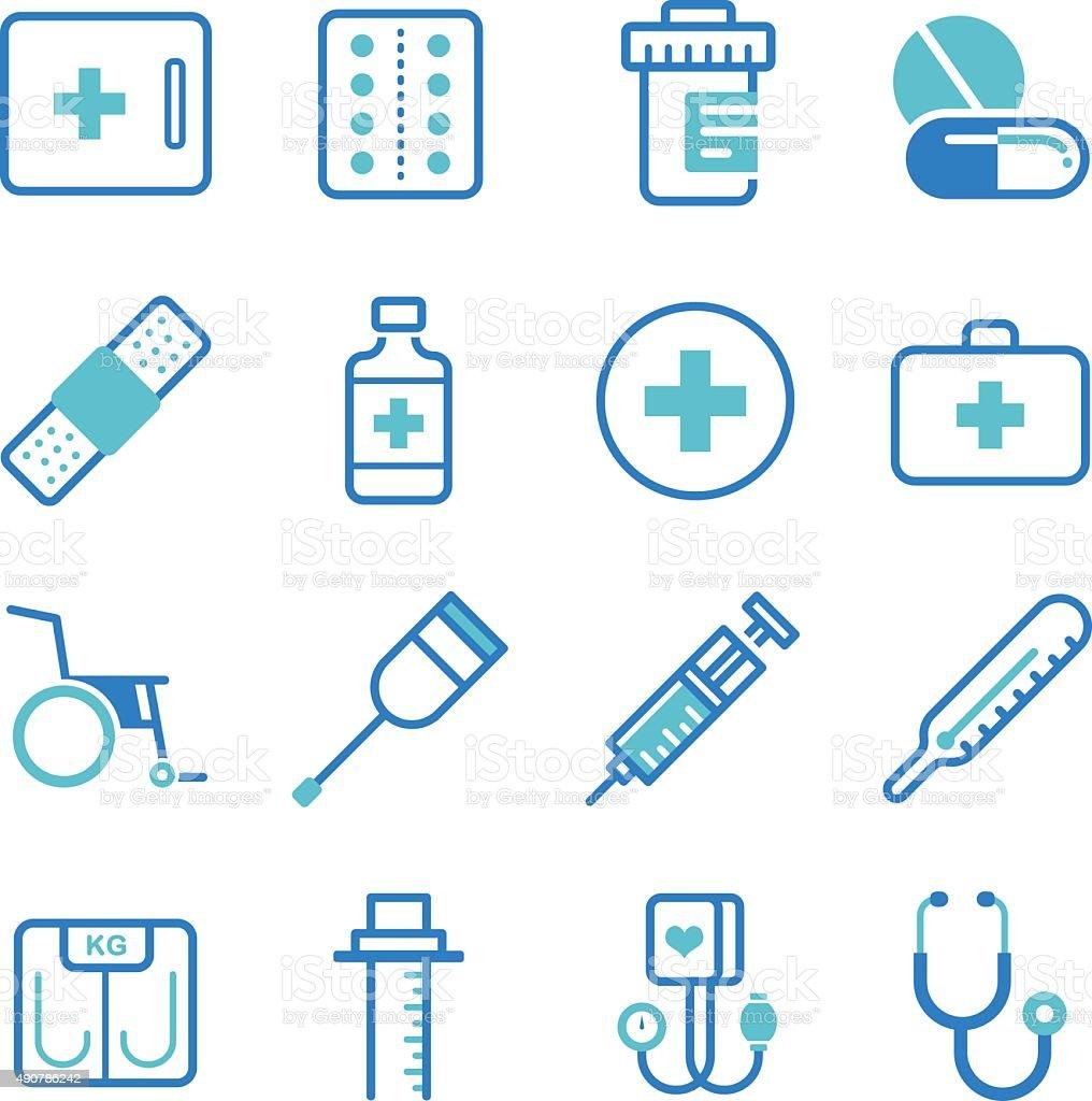 Basic medical equipment icons set vector art illustration