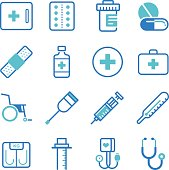 Basic medical equipment icons set