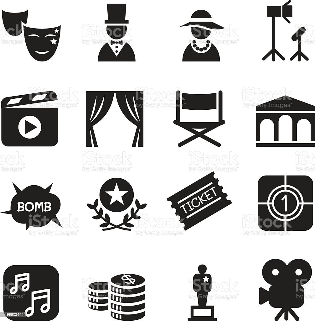 Basic Movies icons set Vector illustration vector art illustration