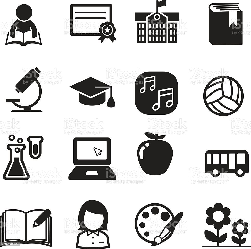 Basic School icon set vector art illustration
