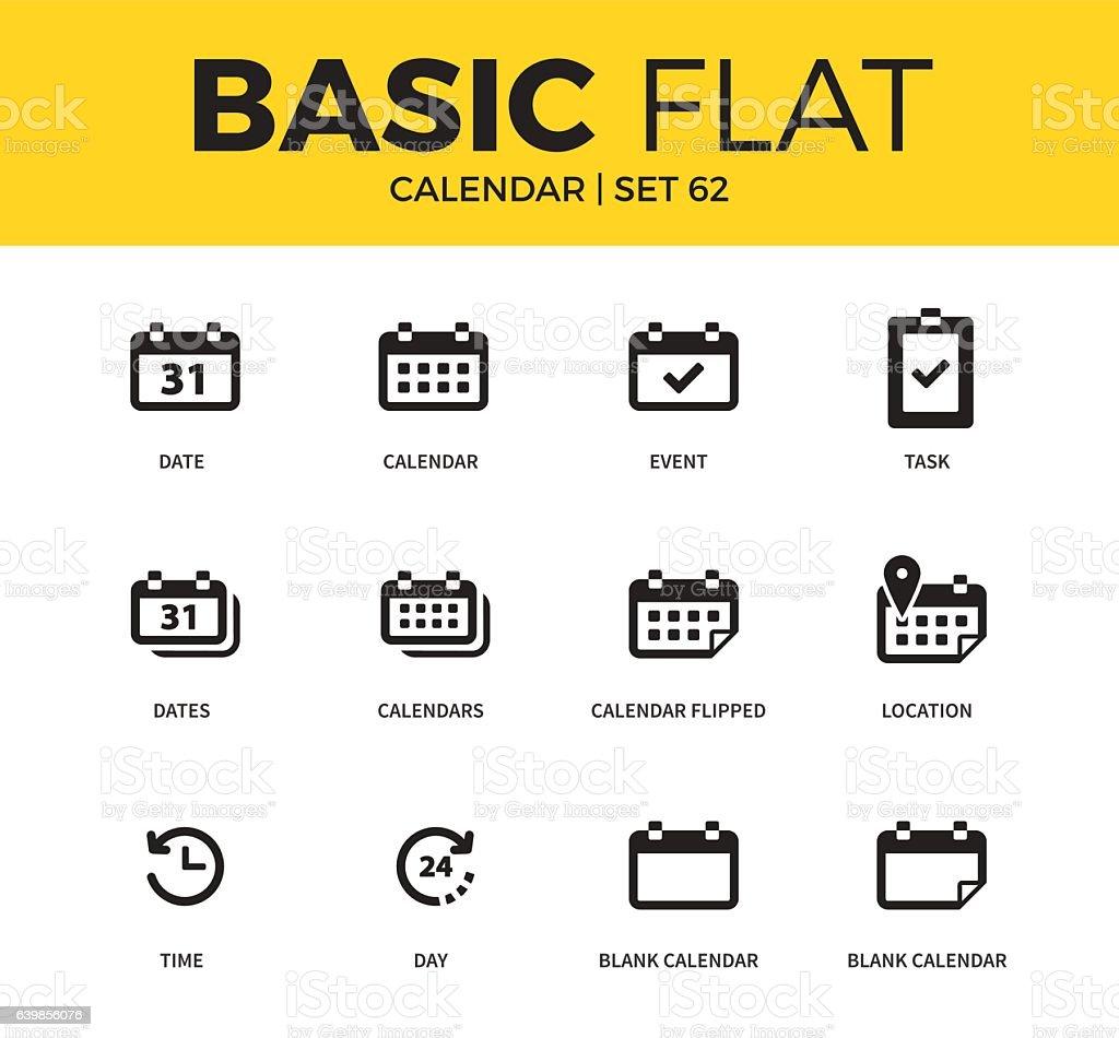 Basic set of Calendar icons vector art illustration