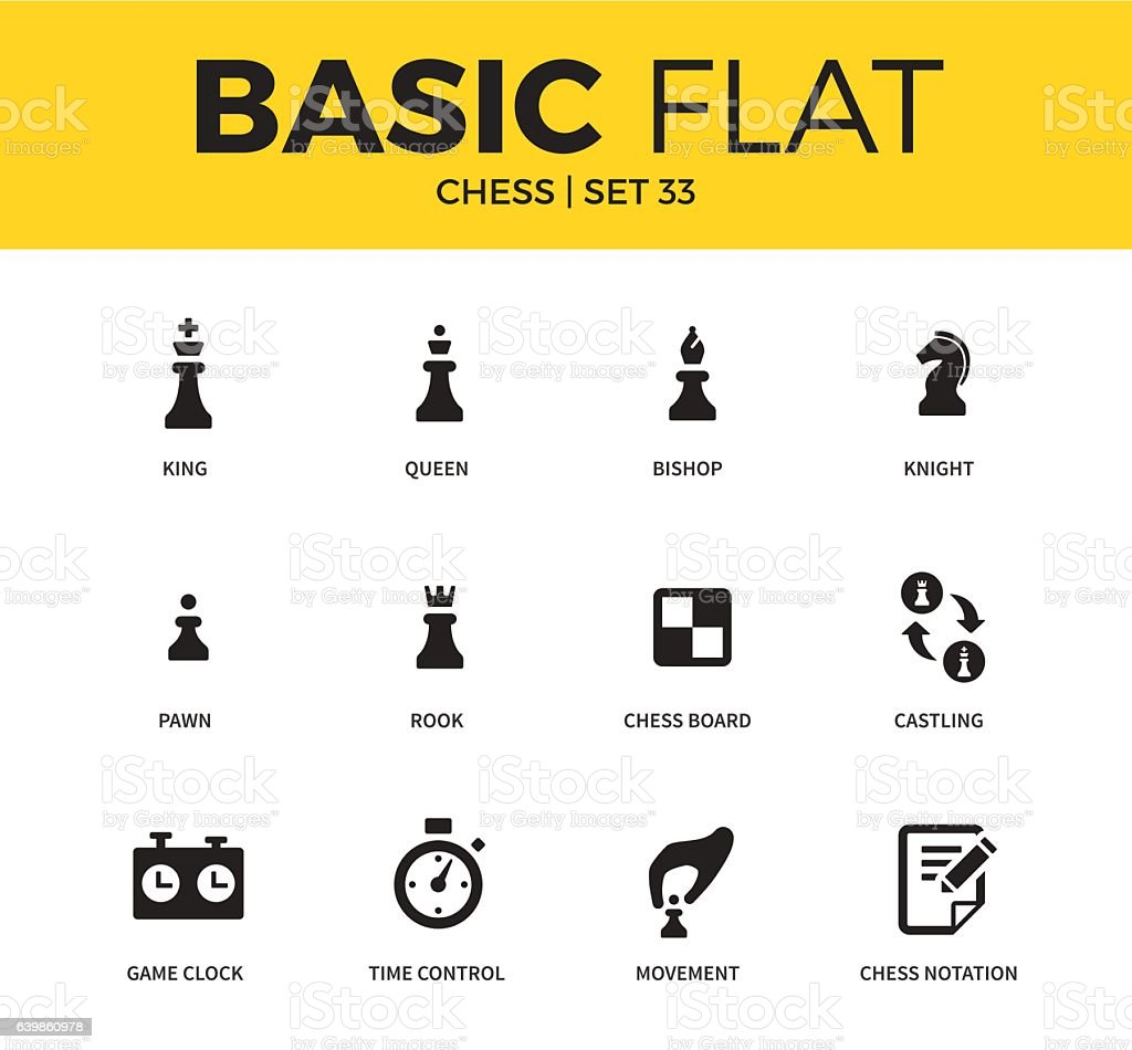 Basic set of chess icons vector art illustration
