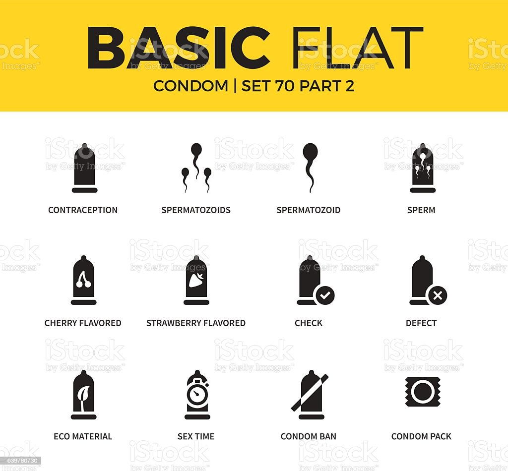 Basic set of condom icons vector art illustration