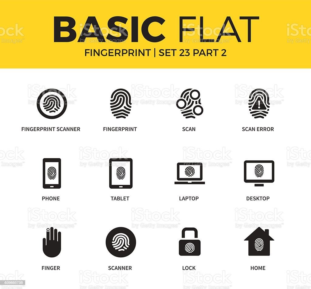 Basic set of Fingerprint icons vector art illustration