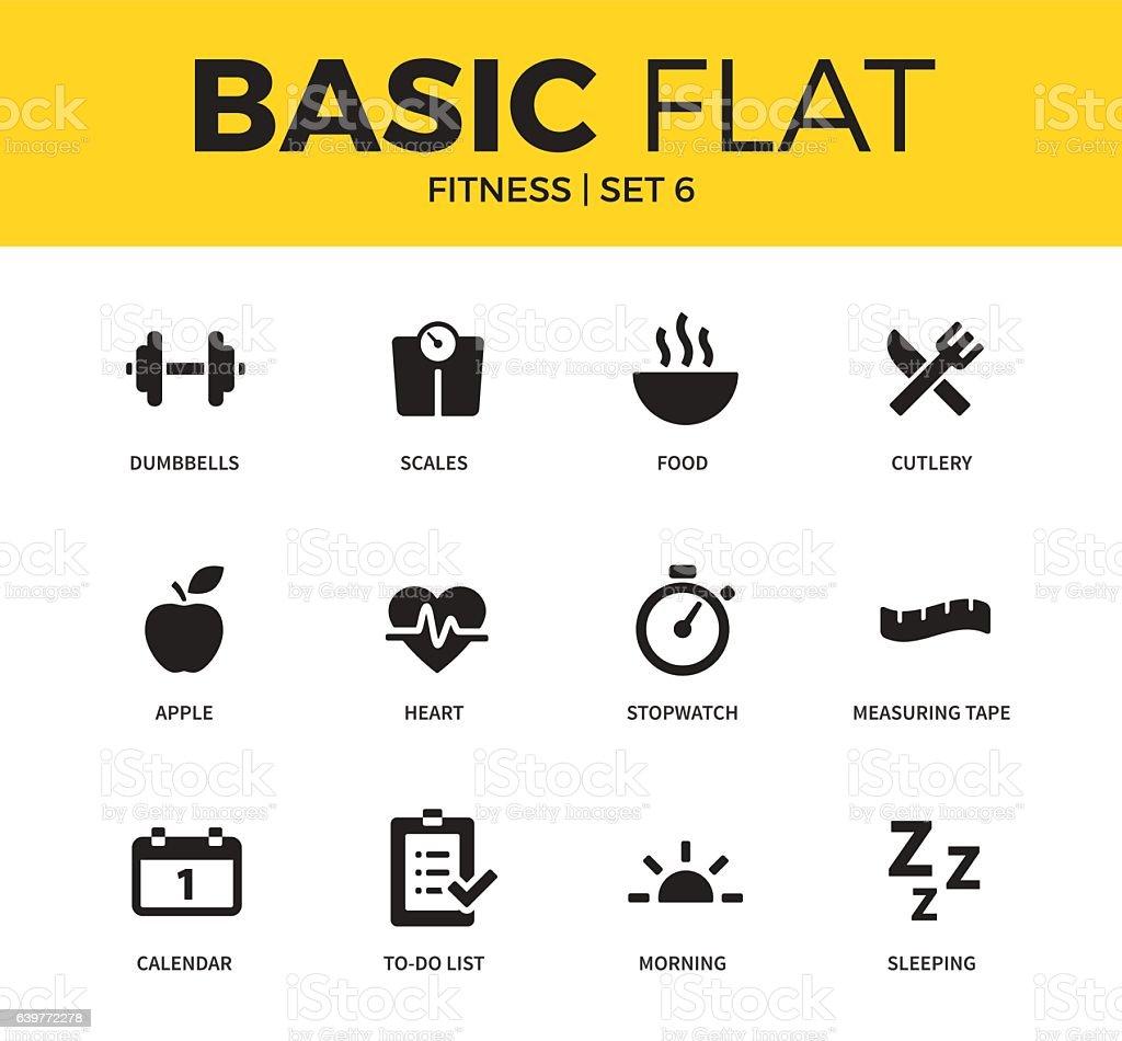 Basic set of Fitness icons vector art illustration