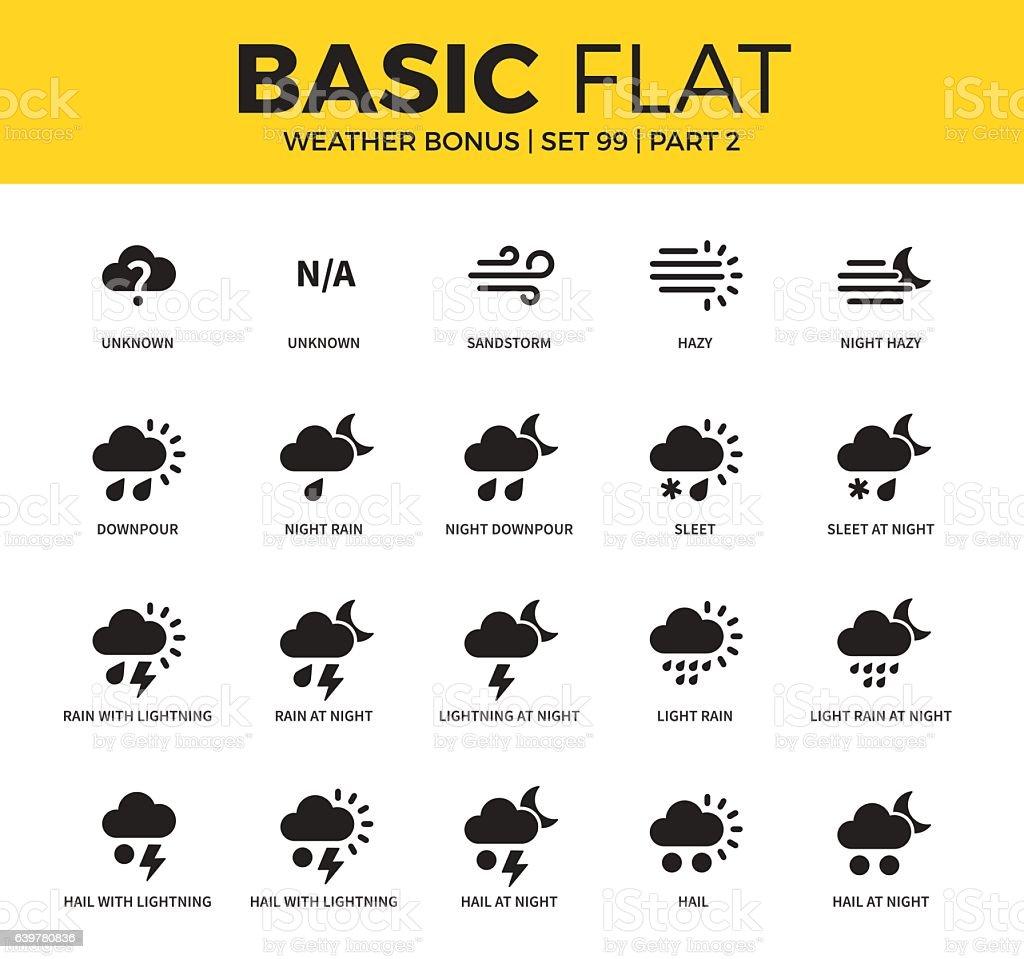 Basic set of weather bonus icons vector art illustration
