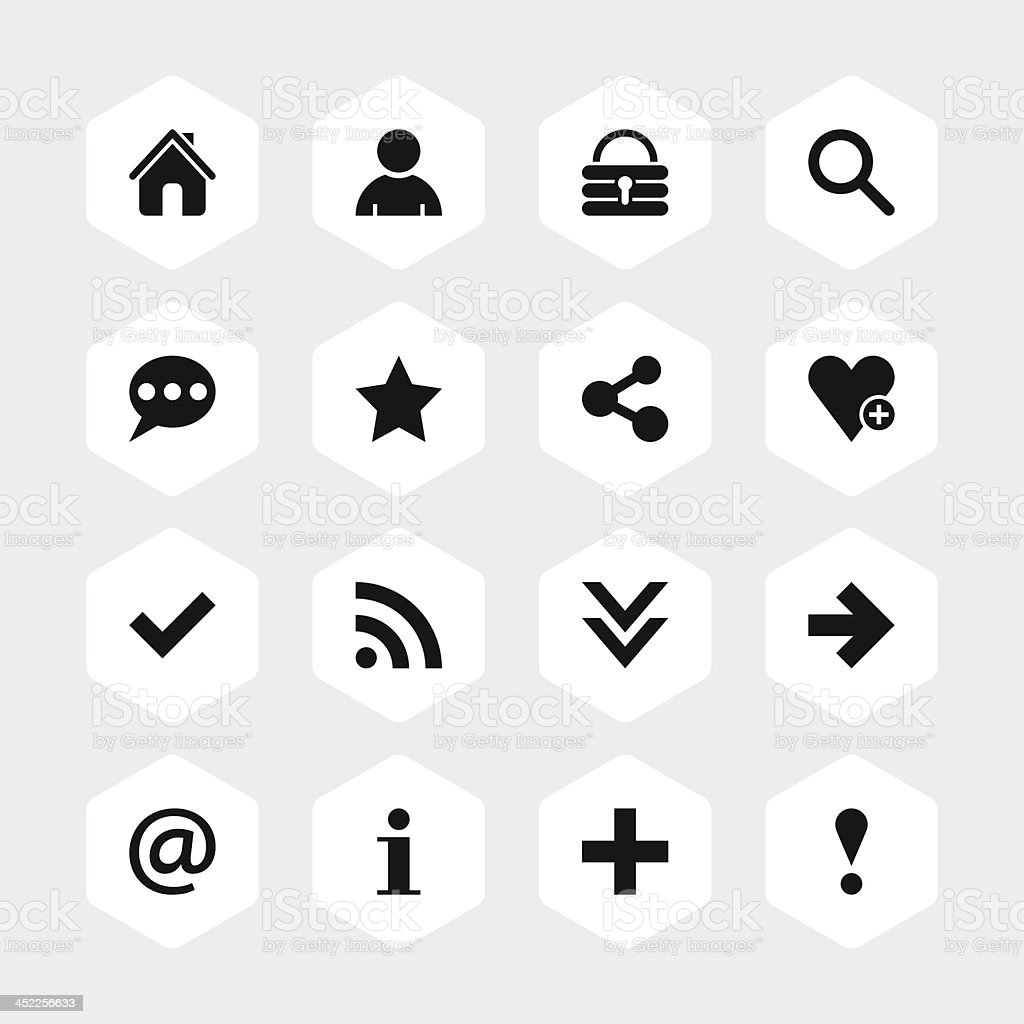 Basic sign black pictogram white icon hexagon button royalty-free stock vector art