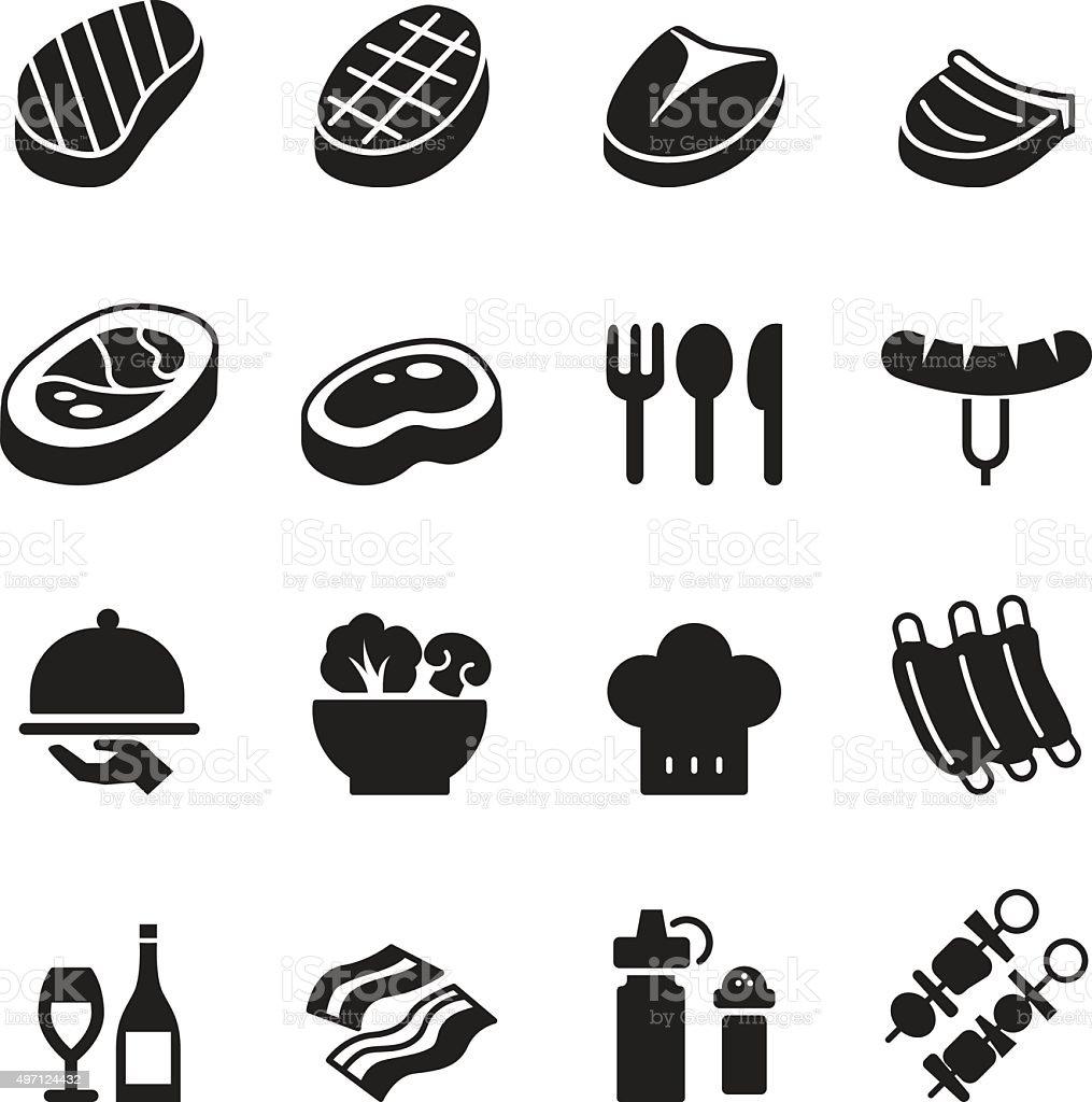 Basic Steak icons set vector art illustration