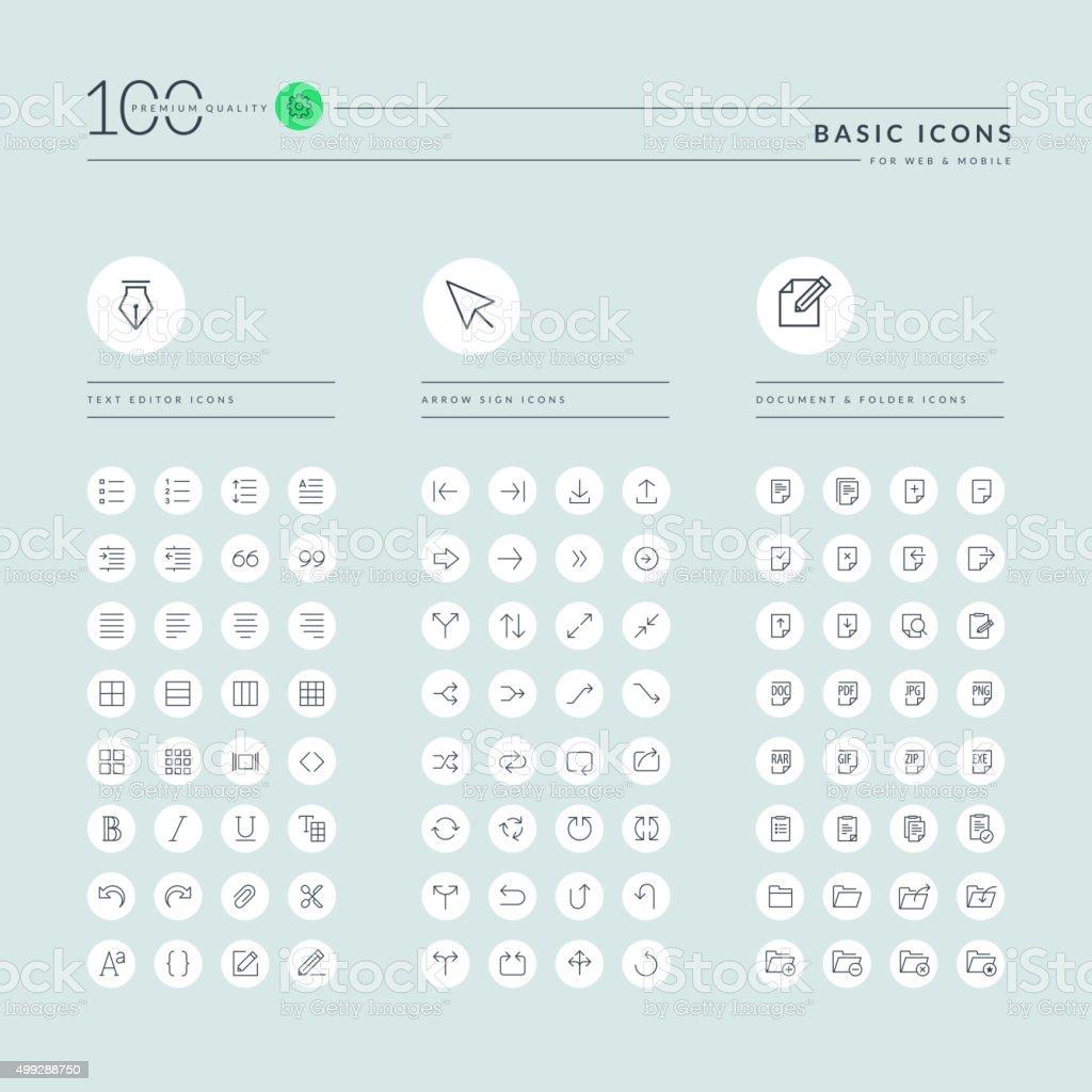 Basic línea fina colección de iconos de web illustracion libre de derechos libre de derechos