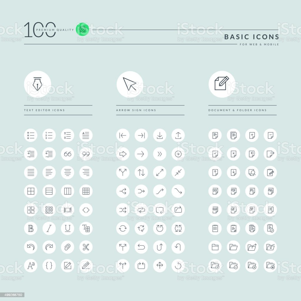 Basic thin line web icons collection vector art illustration
