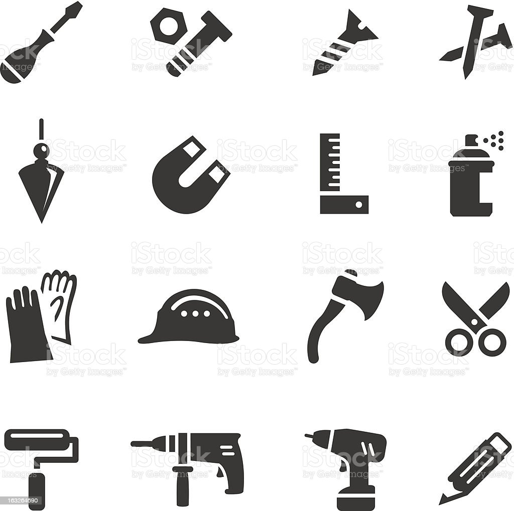Basic - Tools and Construction icons vector art illustration