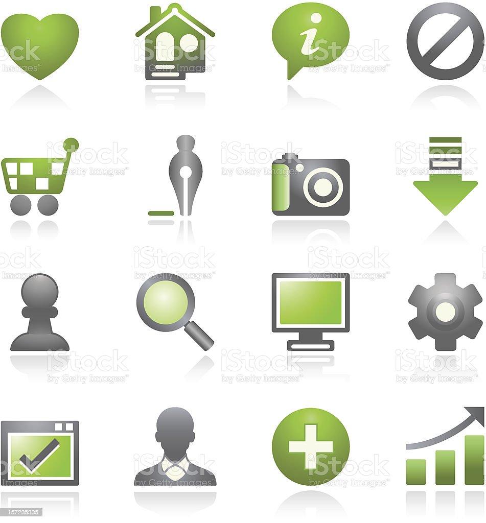 Basic web icons.   Gray and green series. royalty-free stock vector art