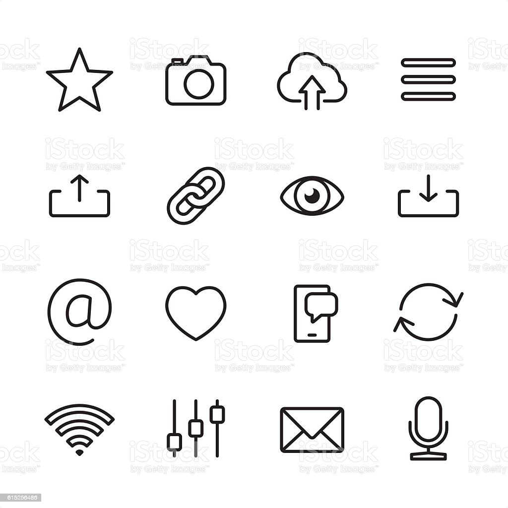 UI basics - outline style vector icons vector art illustration