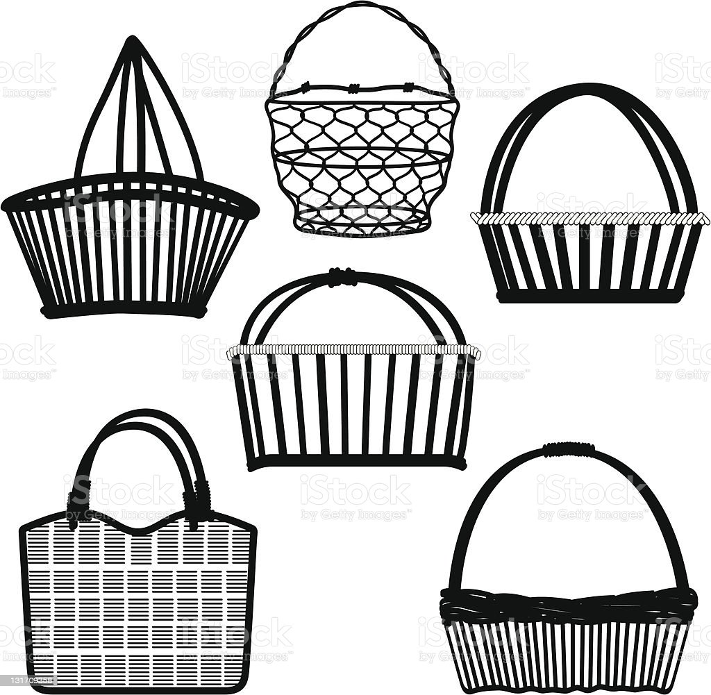 Basket Bag Container Wired Wooden Craft Handmade vector art illustration
