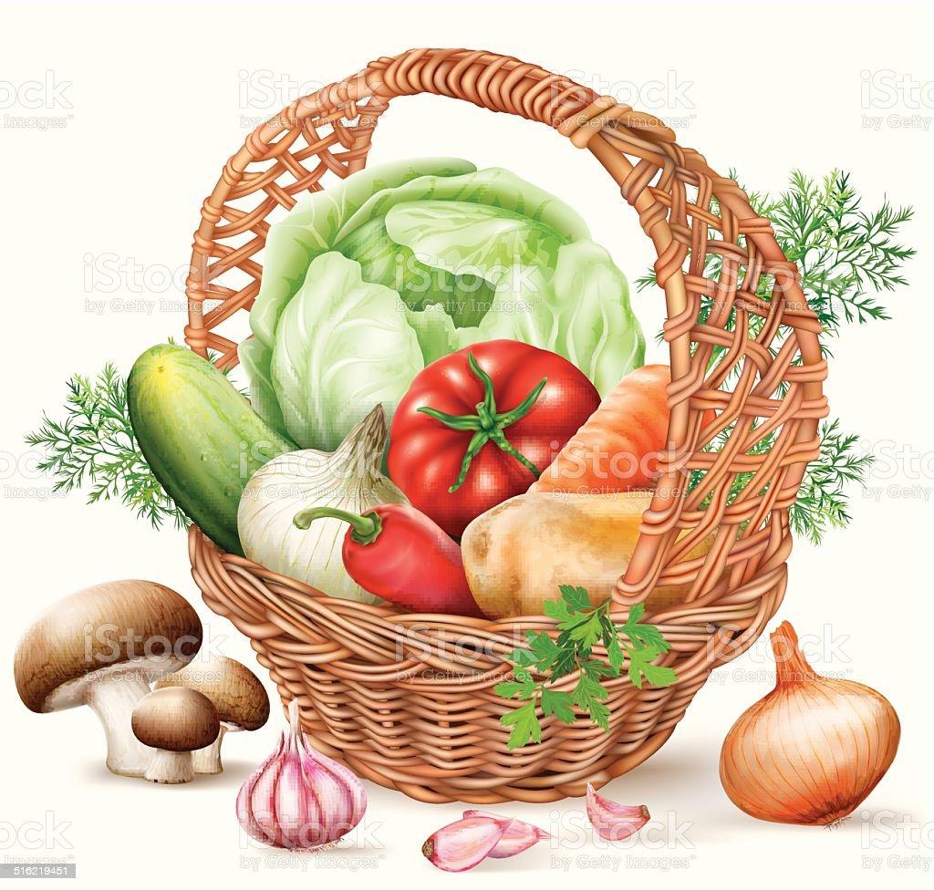 Basket different Vegetables vector art illustration