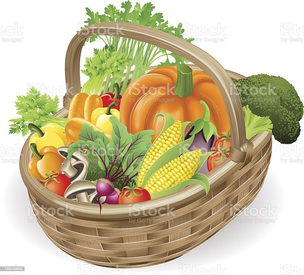 Basket fresh vegetables vector art illustration