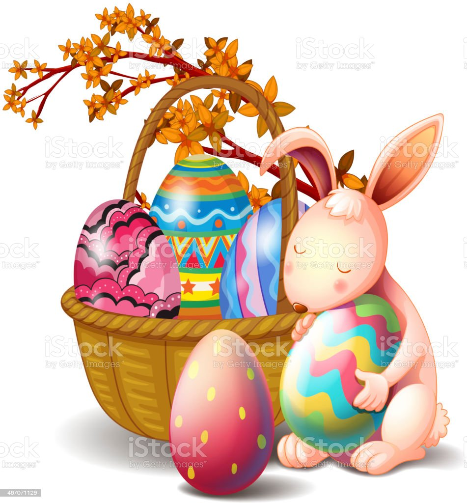 Basket full of eggs and a rabbit royalty-free stock vector art