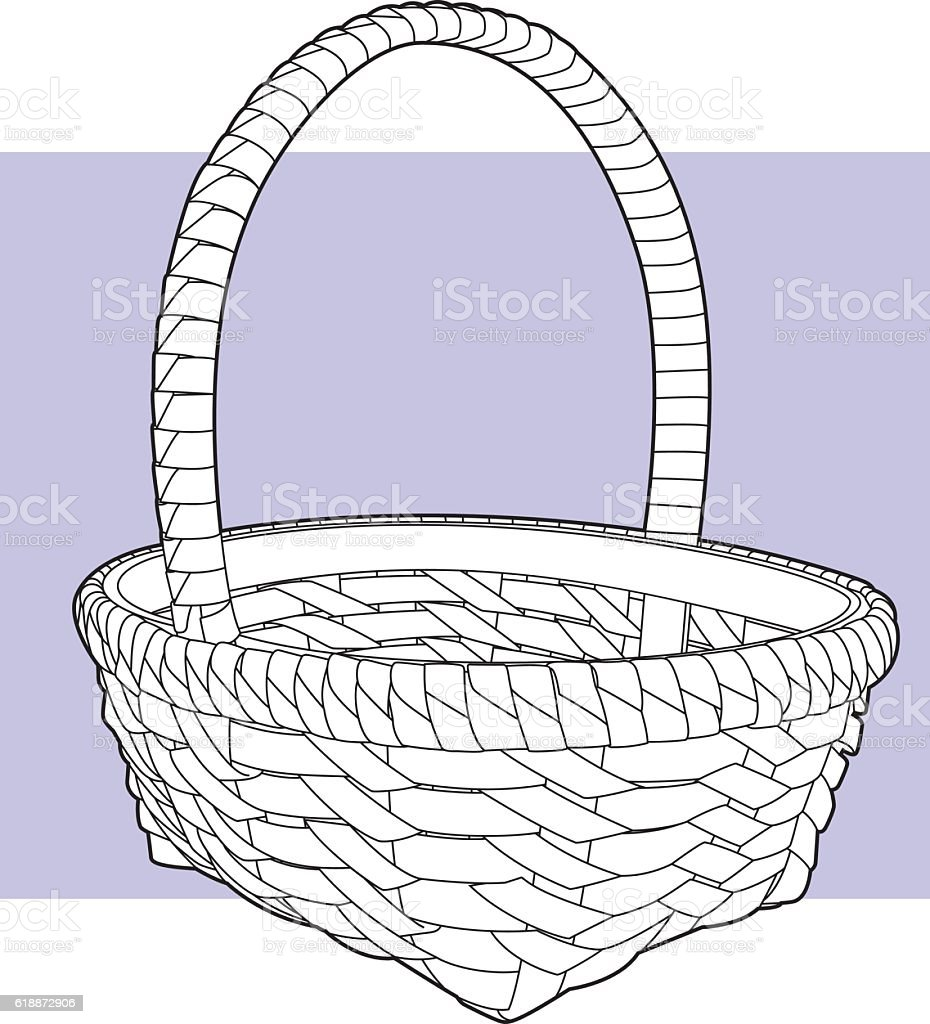 Basket Line Art vector art illustration