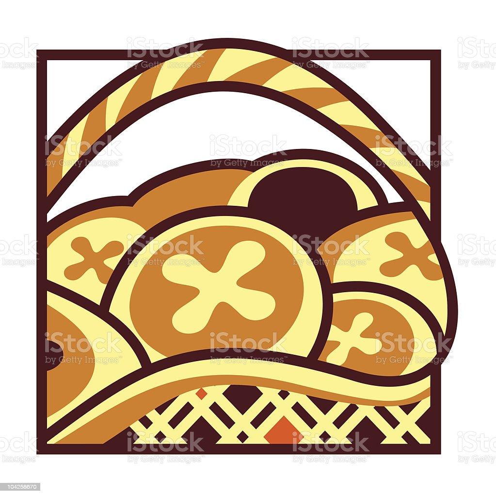 Basket of Cross Buns vector art illustration