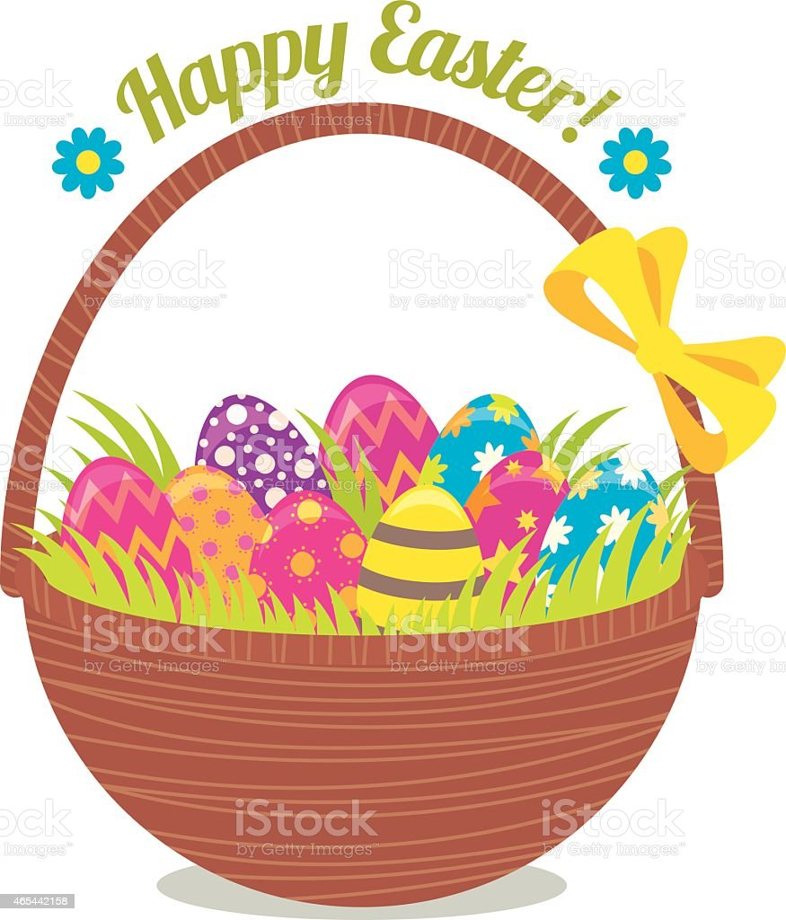 Basket of Easter eggs isolated on a white background vector art illustration