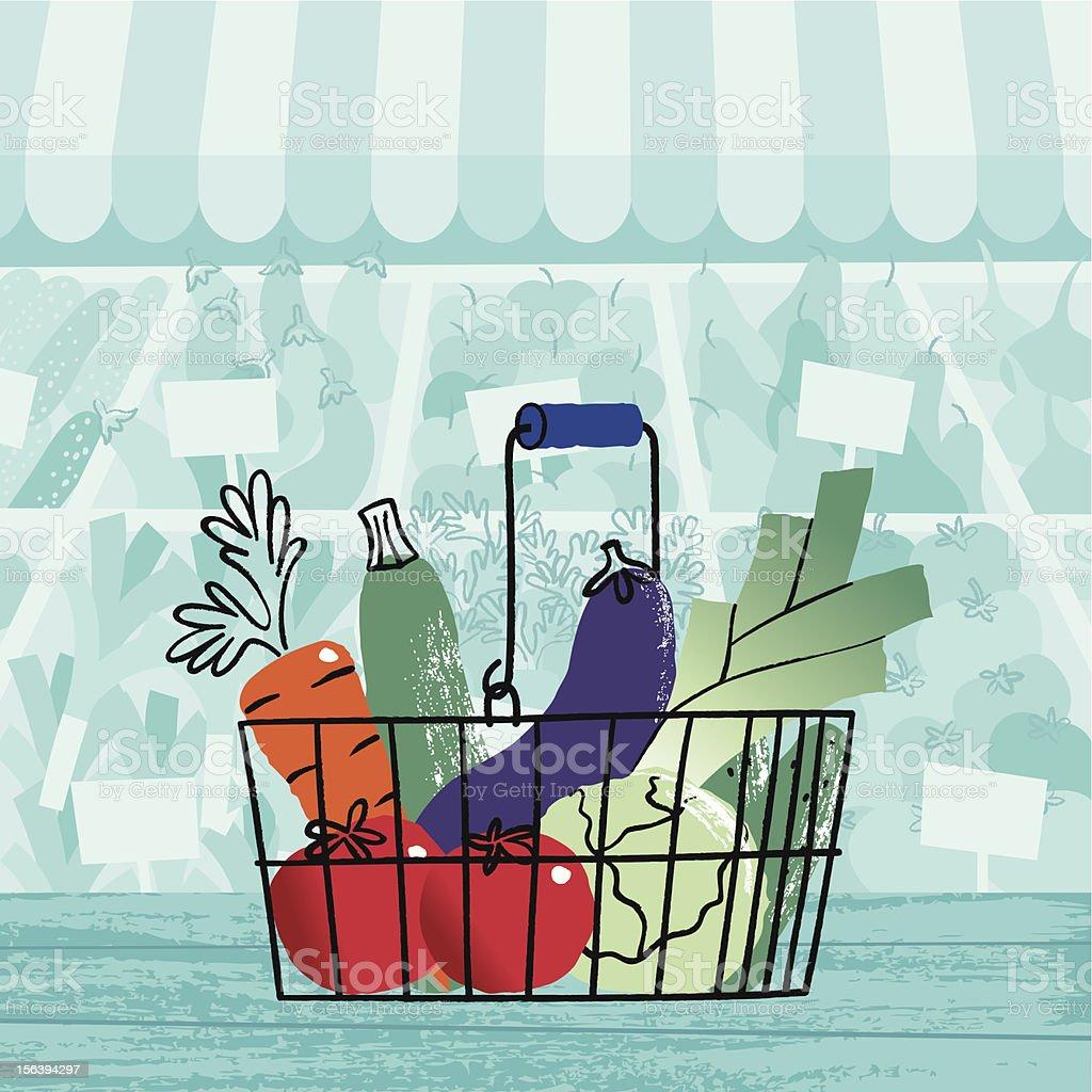 Basket of Vegetables. vector art illustration