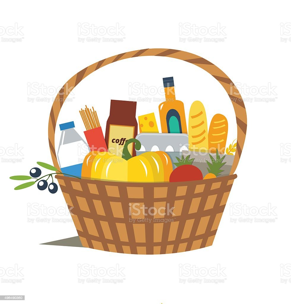 Basket vector art illustration