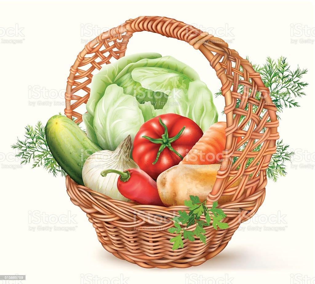 Basket Vegetables vector art illustration