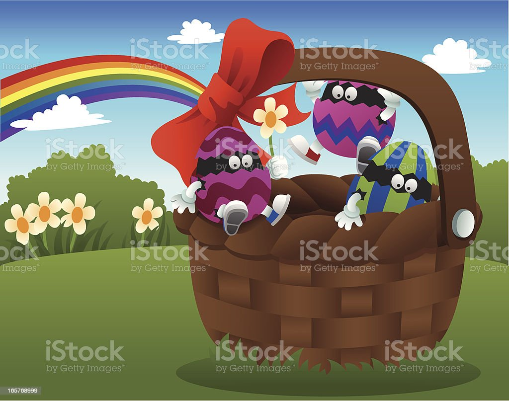 Basket with Easter eggs vector art illustration