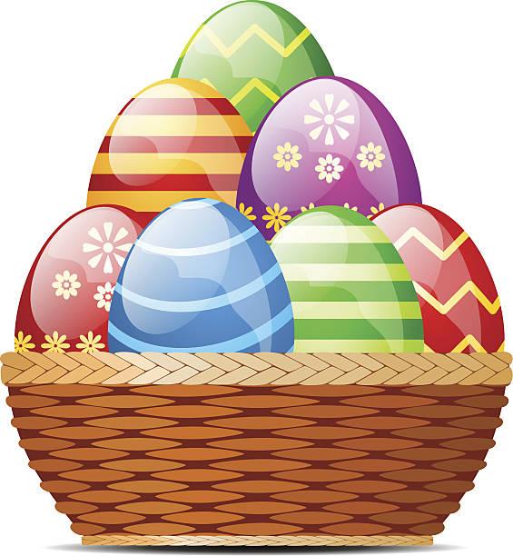 Easter Egg Basket Clip Art, Vector Images & Illustrations - iStock