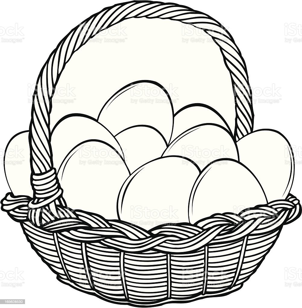 Basket with eggs vector art illustration