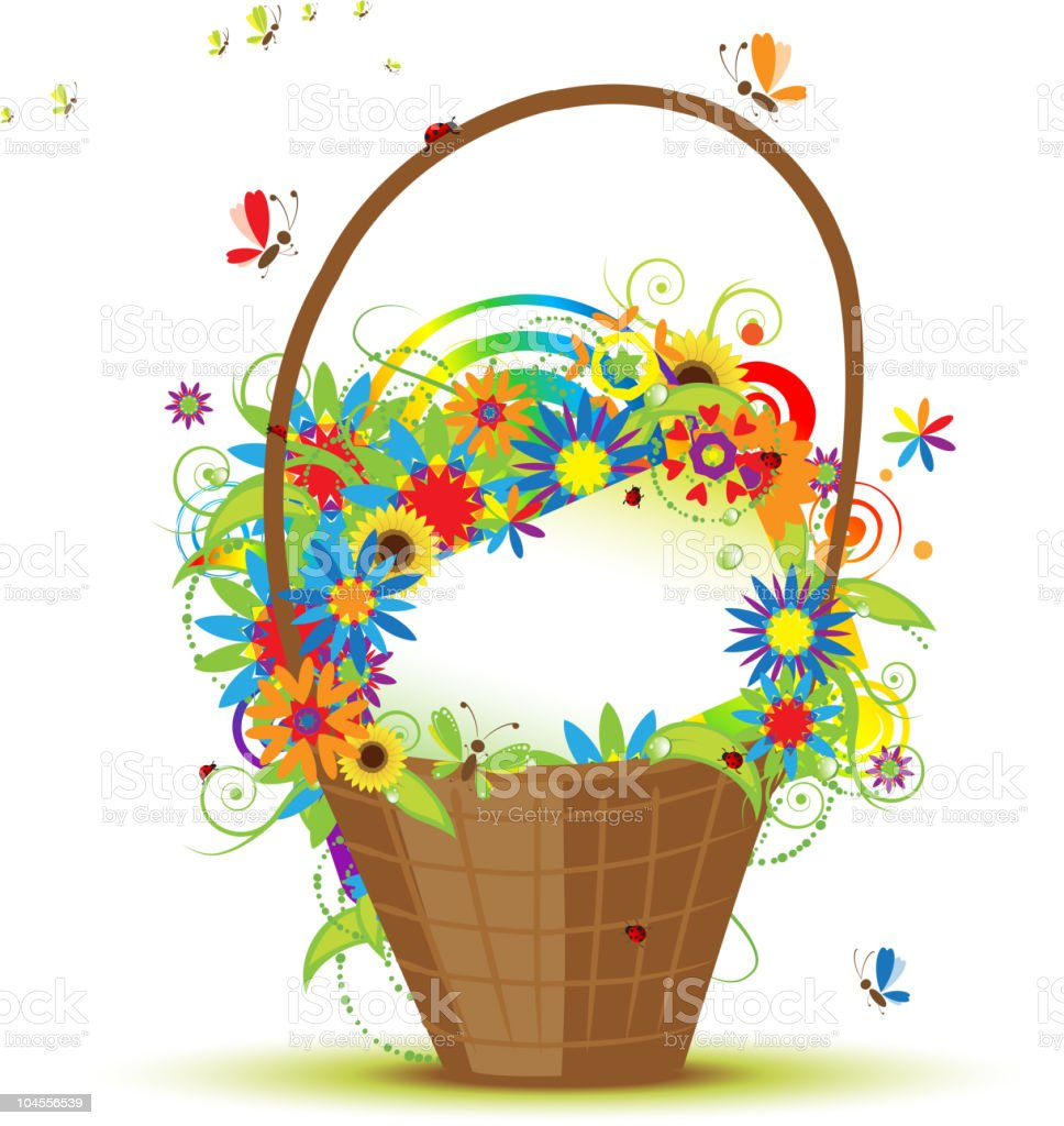 Basket with flowers for your design royalty-free stock vector art
