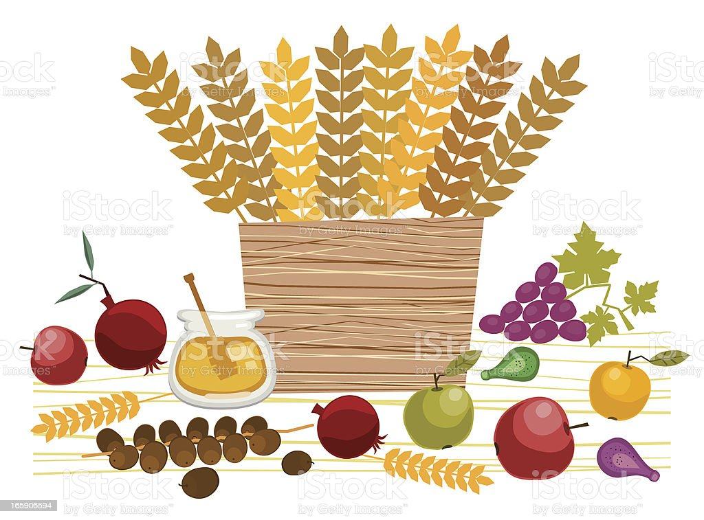 Basket  With Fruit and Cereals vector art illustration