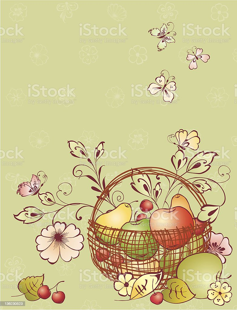 basket with fruit royalty-free stock vector art