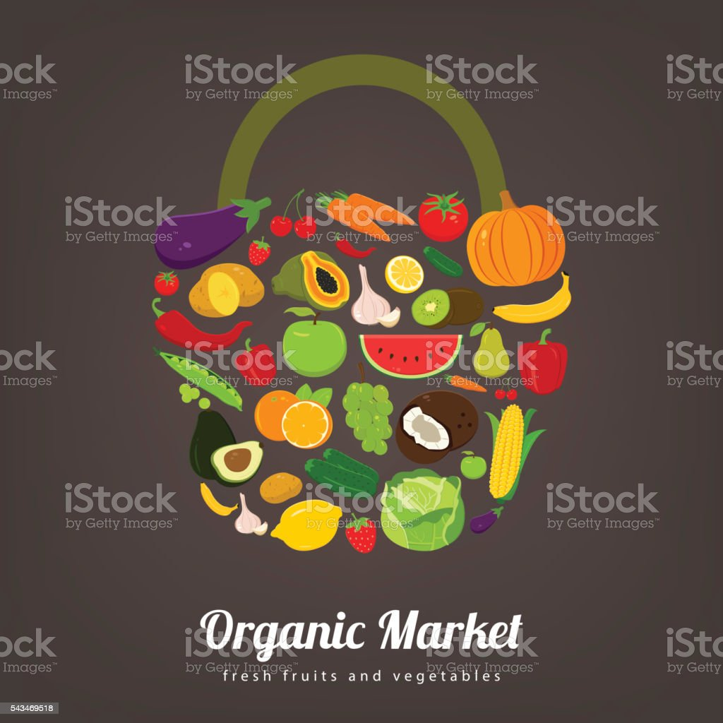 Basket with fruits and vegetables icons. Vector royalty-free stock vector art