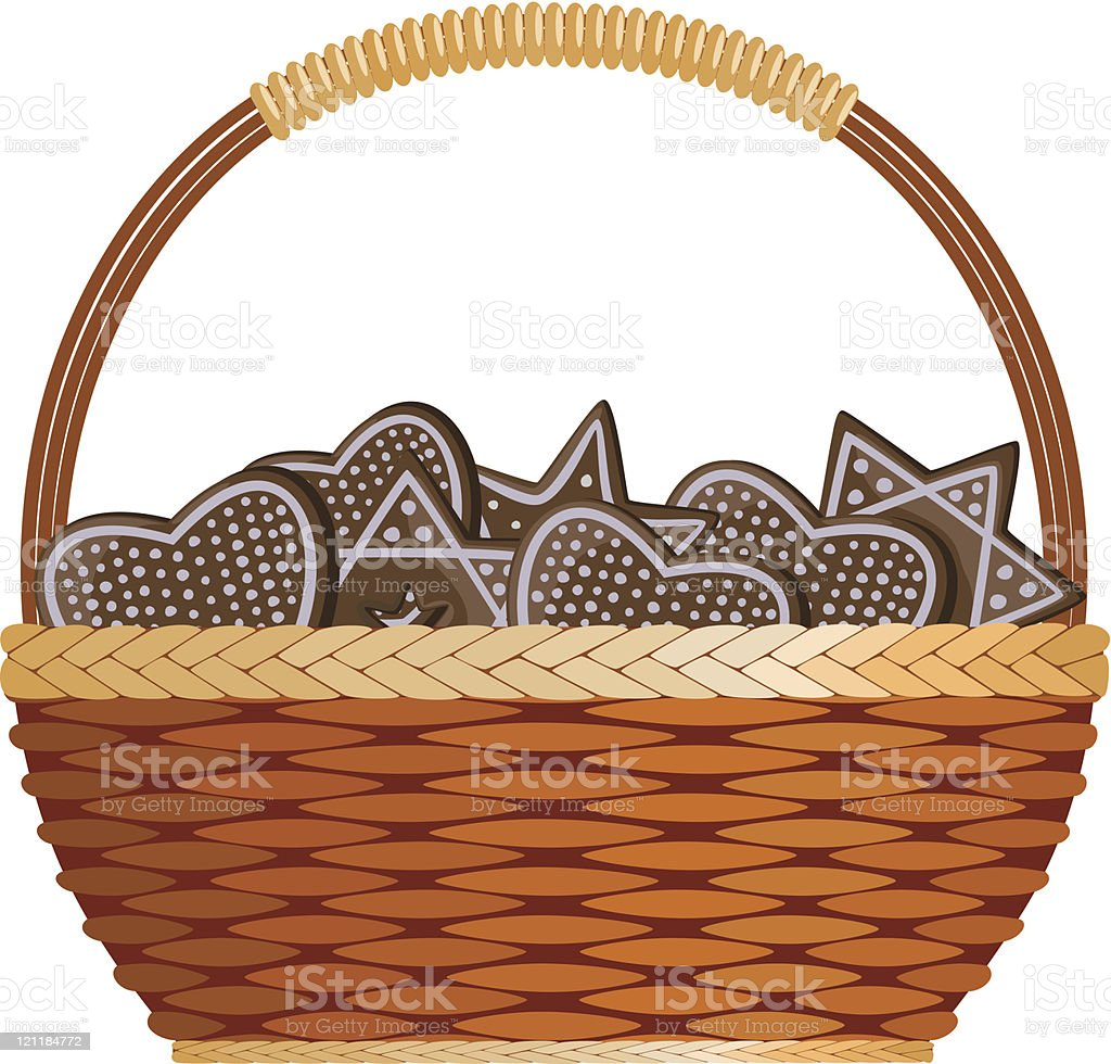 Basket with ginger royalty-free stock vector art