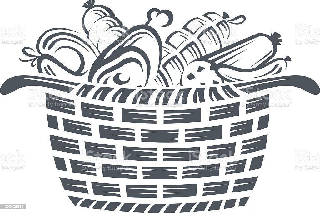 basket with sausages vector art illustration