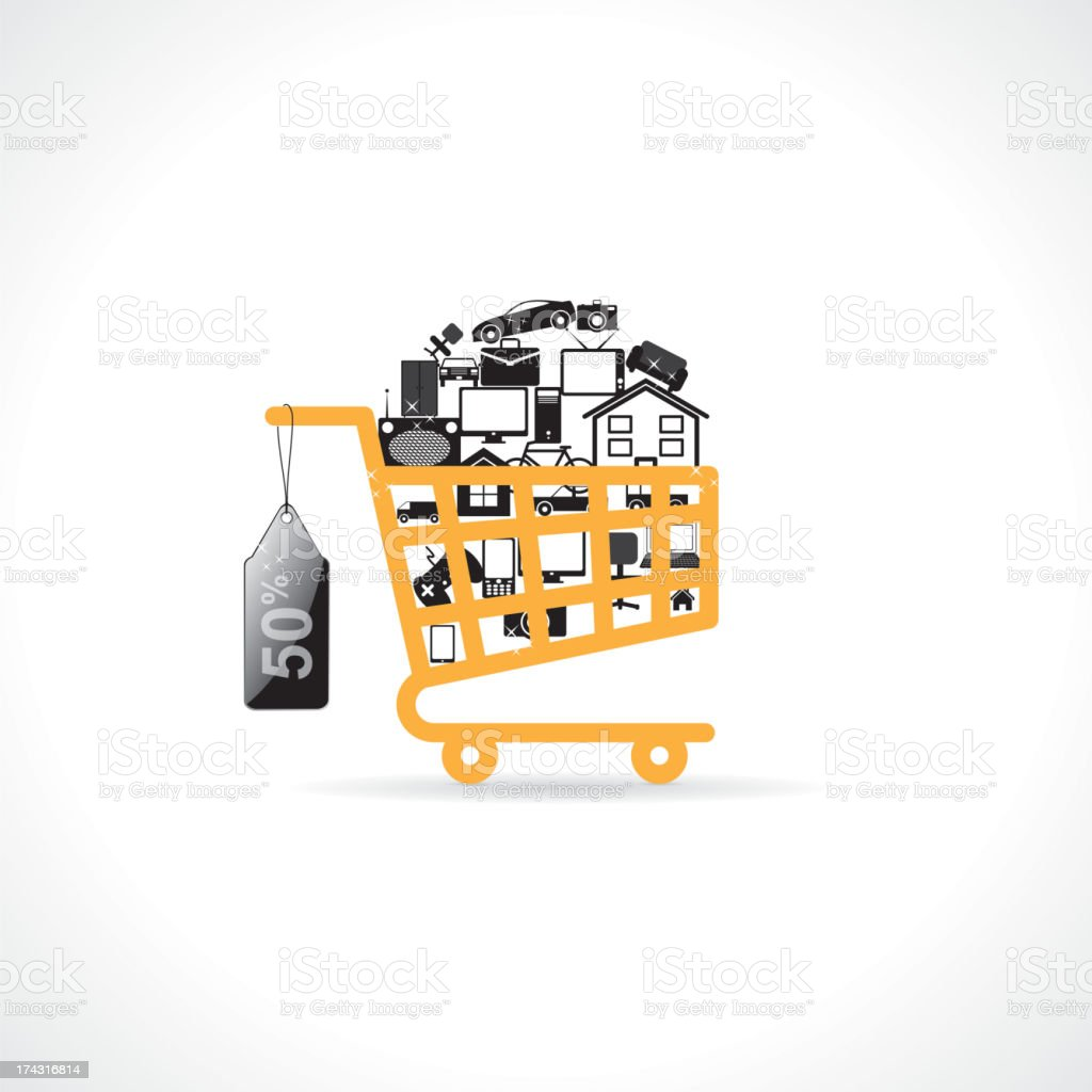 basket with shopping royalty-free stock vector art